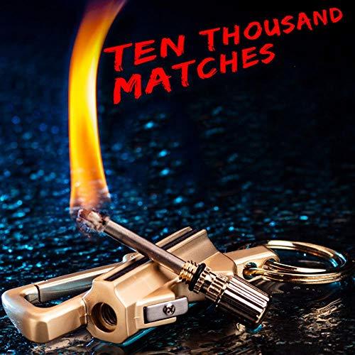 (Volwco Keychain Lighter Cigar Lighter,Multifunction Lighter with Bottle Opener,Matchstick Fire Starter,Keychain,Kerosene Fillable,EDC Gear Key Tool for Men,Women)
