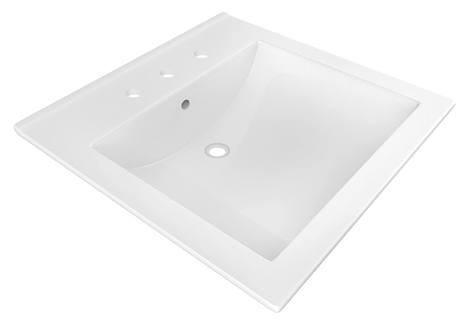American Imaginations AI-888-18098 21.5-in Faucet D Ceramic Top in White Color for 8-in o.c W x 18.5-in