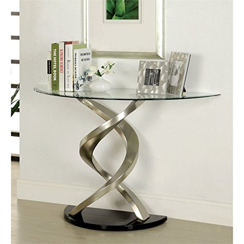Cheap Bowery Hill Glass Top Console Table in Satin