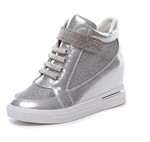 VECJUNIA Womens Fashion Rhinestone Hidden Wedge Sneakers Silver dLFgAt