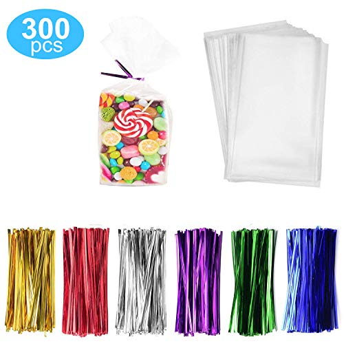 9 Bags Treat (300 Pack Clear Treat Bags Clear Candy Bags 4