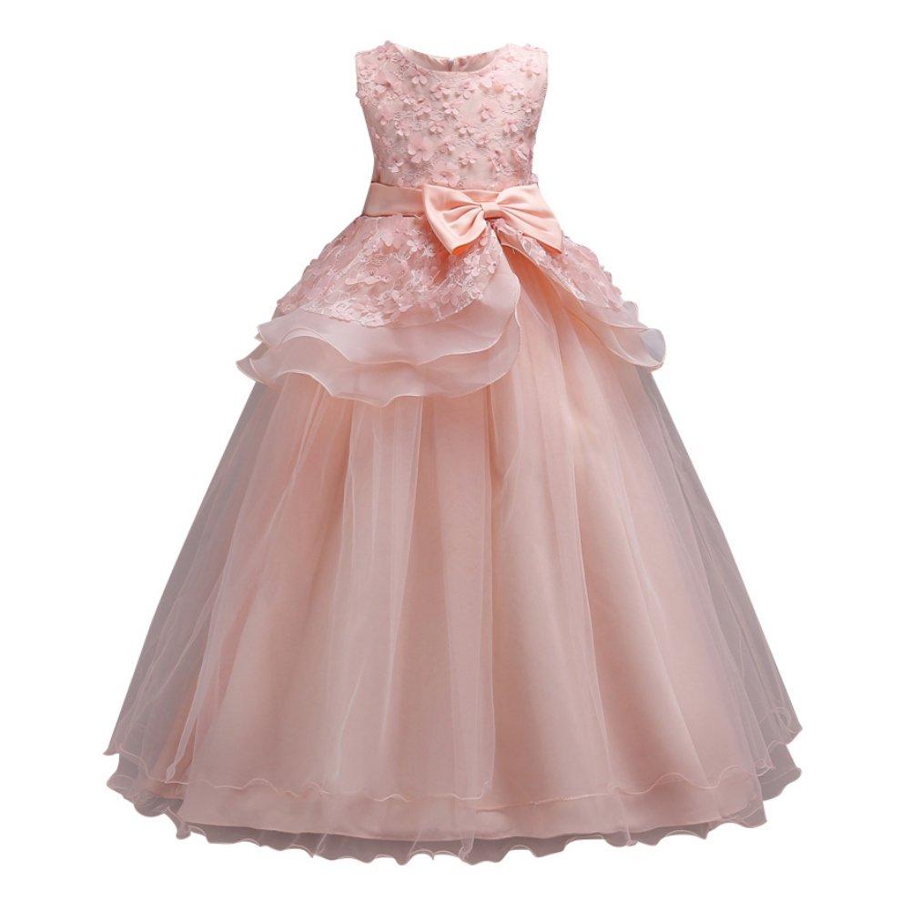 Loveble Girls Flower Princess Dress Wedding Bow Tie Evening Dress Fantasy Tulle Party Dresses