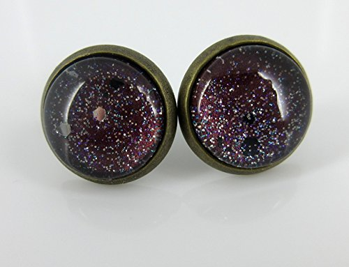 Antiqued Gold-tone Black Hole Glitter Glass Galaxy Stud Earrings Hand-painted 12mm (Milky Way Costumes)