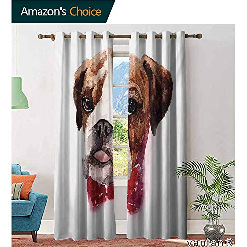 2 Packs Grommet Curtains,English BulldogWatercolor Dog Portrait with a Bow Tie Design Brush Stroke Effect,for Living/Bedroom Room/Patio Door,Brown Ruby Black,W108 ()