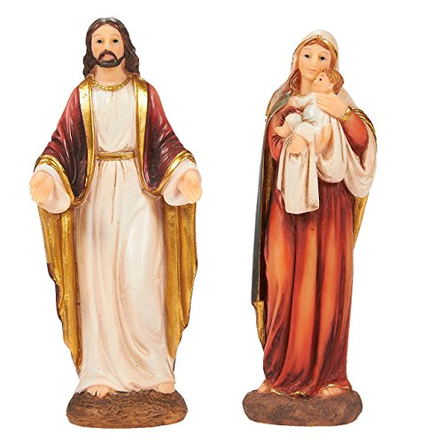 Juvale Religious Statues - Virgin Mother Mary Figurine and Jesus Christ Figurines