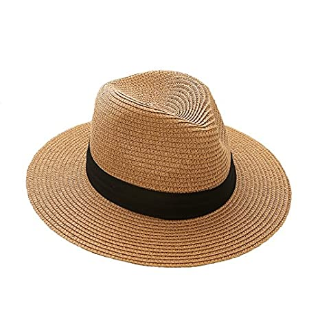 iHomey Women Panama Straw Sun Hat Foldable Wide Brim Beach Sun Caps