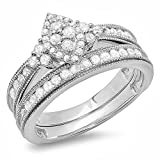 0.80 Carat (ctw) Sterling Silver Round Diamond Ladies Bridal Marquise Shape Promise Engagement Ring Set With Matching Band 3/4 CT (Size 9)