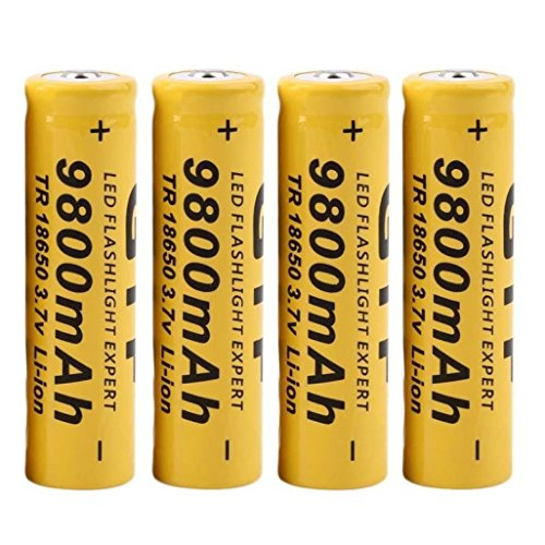 DZT1968 4Pcs 3.7V 18650 9800mah Li-ion Rechargeable Battery For LED Flashlight Torch/electronic gadgets 65x17mm