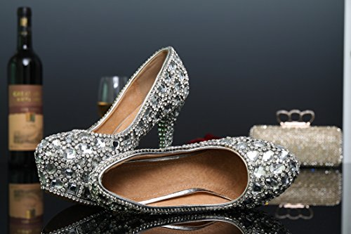 Women's Pumps 14cm Shoes Miyoopark Bridesmaid Silver LL103 Wedding Evening Heel Bridal Rhinestone g1AqwC5