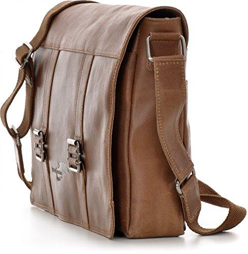 REBELS & LEGENDS, Cntmp, Leder, Messengerbags, Umhängetaschen, Crossover Taschen, Aktentaschen, Business-Bags, DIN-A4, Handtaschen, Leder, 43x28x7cm (B x H x T), Farbe:Cognac Cognac