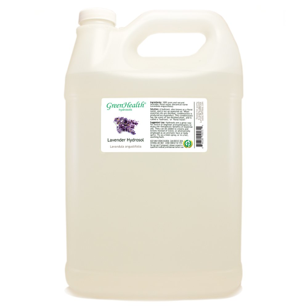 Lavender Hydrosol - 1 Gallon Plastic Jug w/Cap - 100% pure, distilled from essential oil by GreenHealth