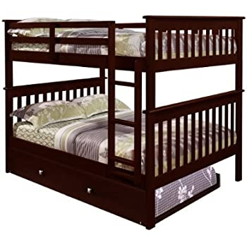 Amazon Bunk Bed Full over Full with Trundle in Cappuccino