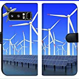 Samsung Galaxy Note 8 Flip Fabric Wallet Case Image ID 19576484 Aircraft is Flying in eco Power of Wind turbines and Solar Panel at c