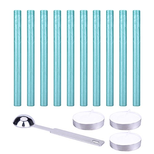 10PCS Flexible Glue Gun Sealing Wax Sticks with Retro Spoon and Candles for Retro Vintage Wax Seal ()