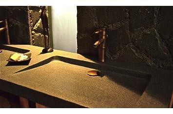 double vasque en pierre granit 160x50 en granit folege - Double Vasque En Pierre