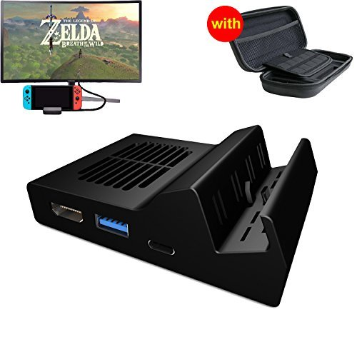 TTqp.tech Portable Dock for Nintendo Switch,Built-in 3 x USB HDMI Type C Adapter for Nintendo Switch, HDMI Converter for Nintendo Switch + Waterproof Carring Case for Nintendo Switch