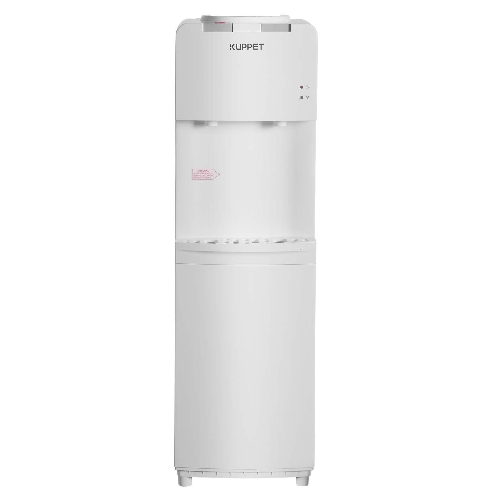 KUPPET Water Cooler Dispenser, Top Loading Freestanding Water Dispenser, Compressor Cooling, Two Temperature Setting Hot(190.4℉-203℉) & Cold(42.8℉-50℉),Stainless Steel, White