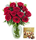 KaBloom The Romantic Classic Bouquet of 12 Fresh Red Roses (Farm-Fresh, Long-Stem) with Vase and One Box of Lindt Chocolates