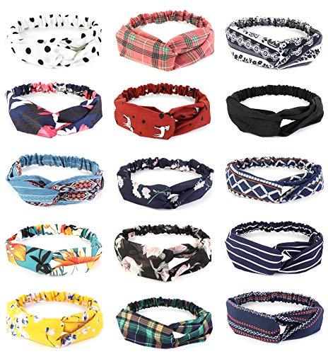 FIBO STEEL 15 Pcs Headbands for Women Girls Wide Boho Knotted Yoga Head Wrap Hair Band Elastic -