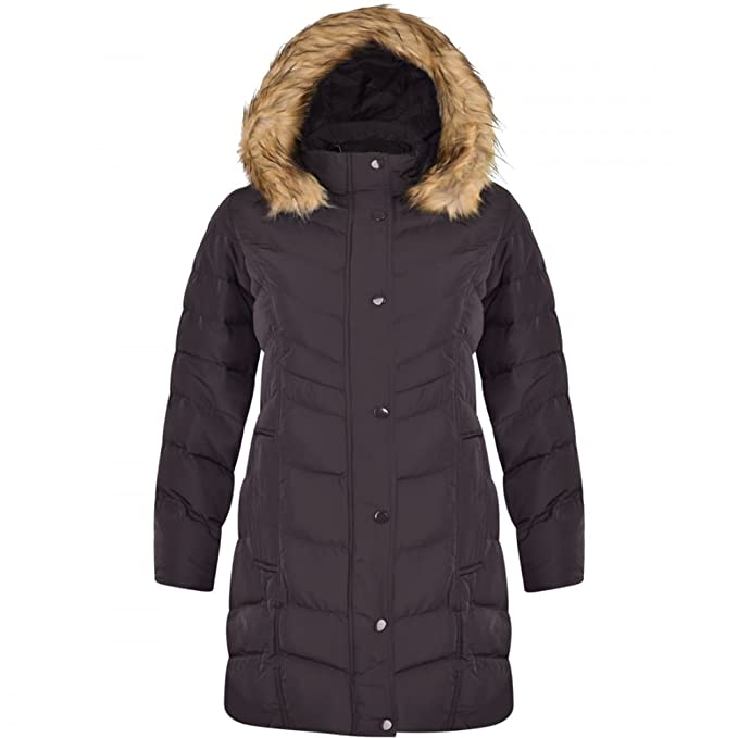 f0e03ae1033 Spindle Womens Long Chevron Quilted Padded Winter Coat Jacket Fur Parka Zip  Pockets UK 10  Small Black  Amazon.co.uk  Clothing