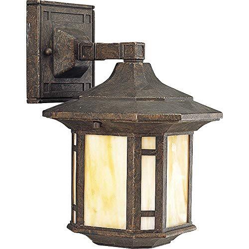 Progress Lighting P5628-46 1-Light Wall Lantern with Honey Art Glass and Mica Accent Panels, Weathered -