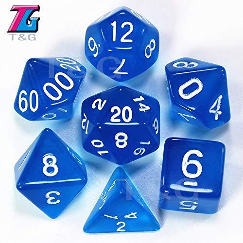 Fricgore 7Pc Transparent Dice Dungeons Dragons DND RPG MTG D4 D6 D8 D10 D% D12 D20 Board Game Dice - Color: Blue