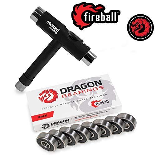 Fireball Dragon Precision Bearings for Skateboards, Longboards, Inline Skates, Roller Skates, Spinners (608 Bearing) (Race 8-Pack w/T-Tool)