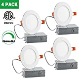 4 Inch Slim LED Downlight, Dimmable, 9W (65W Equivalent), 3000K Warm White, 600Lm, ETL Listed, Retrofit LED Recessed Lighting Fixture, LED Ceiling Light, 4 Pack