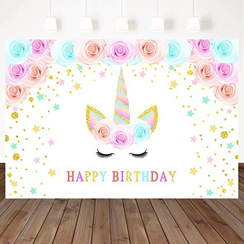 Mehofoto Happy Birthday Backdrop Close Eyes Unicorn Background Flower Golden Stars Decorated 7X5Ft Vinyl Birthday Party Photography Backdrops Props Booth Banner Kids Party Table Decoration