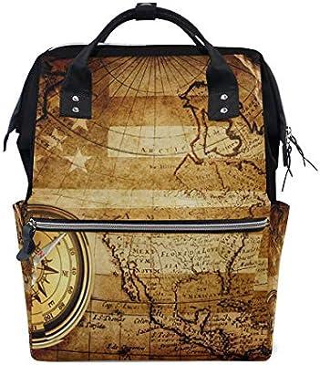 4f04c366af Amazon.com  USA Flag World Maps Vintage Diaper Bag Backpack