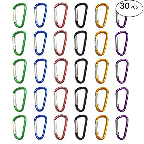 UNIQME Mini Aluminum Carabeaner D Shape Spring Loaded Gate Small D Ring Carabiner Clip Lightweight Hook Keychain for Home, RV, Camping, Traveling, Hiking, Fishing, Bottle, Backpack…(30 Pack)