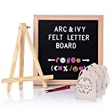 Changeable Letter Board Super Bundle - 10x10 Wooden Frame Message Board Black Felt Letterboard 644 Characters: Emojis Icon Symbols in White Pink and Gold Wood Stand Clippers and Three Drawstring Bags