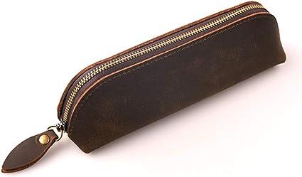 Estuche vintage de piel con cremallera de Saibang, accesorios de papelería de piel auténtica hechos a mano para el colegio o la oficina, estuche de lápices, bolígrafos unisex: Amazon.es: Oficina y papelería