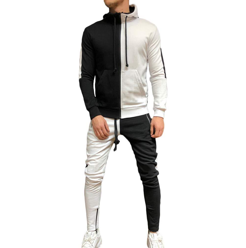 Men's Tracksuit Set Camouflage Sweatshirt Jogger Sweatpants Solid Patchwork Warm Sports Suit (Patchwork-White, L) by lisenraIn