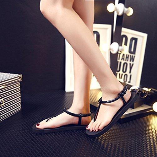 Top-Sell Roman No-Slip Thong Zapatos Zapatillas T-Strap Bloquear Verano Playa Flip Flops Sandalias Planas Black