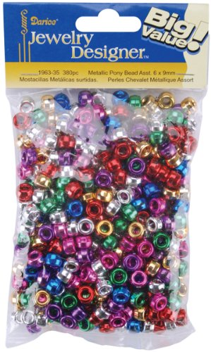 Darice 380-Piece Metallic Pony Beads, 6 by 9mm Assorted Colors ()