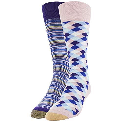 (Gold Toe Men's Dress Crew Socks, 2 Pairs, Blush Diamonds/Purple Stripe Shoe Size: 6-12.5)