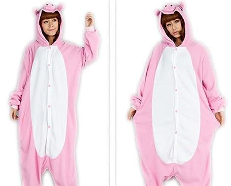1c72649c7b Amazon.com  Unisex Adult pink pig Cosplay Kigurumi Animal Costume Pajamas  Anime Pyjamas Onesie S-XL (XL(179-186CM))  Clothing