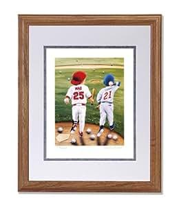 Baseball Home Run Buddies Mark McGwire Sammy Sosa Wall Picture W/S Matted Oak Framed Art Print