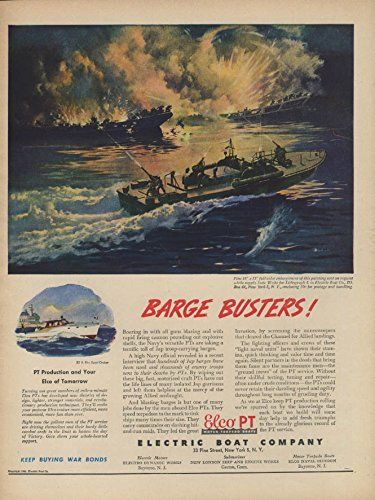 Elco Pt Boat - Barge Busters! Electric Boat Elco PT Boat ad 1944