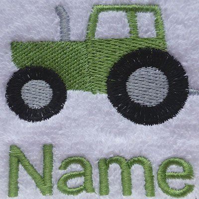EFY White Baby Hooded Bath Robe or White Hooded Towel with a TRACTOR Logo and Name of your choice. (Hooded Towel 0-5 years)