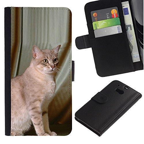 EuroCase - HTC One M8 - savannah Serengeti Somali mau cat - Cuero PU Delgado caso cubierta Shell Armor Funda Case Cover