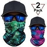 AXBXCX 2 Pack - Versatile Galaxy Print Balaclava Neckerchief Face Mask Bandanas Headband Sweatband for Outdoor Sport Music Festivals Raves Hunting Skiing Snowboarding JS023-AX005