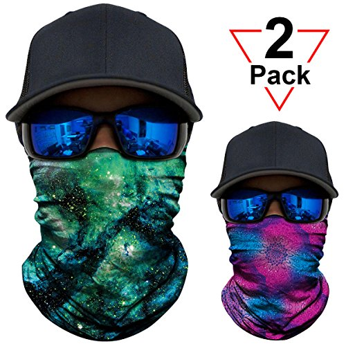 Band Hurricane Lamp - AXBXCX 2 Pack - Versatile Galaxy Print Balaclava Neckerchief Face Mask Bandanas Headband Sweatband for Outdoor Sport Music Festivals Raves Hunting Skiing Snowboarding JS023-AX005