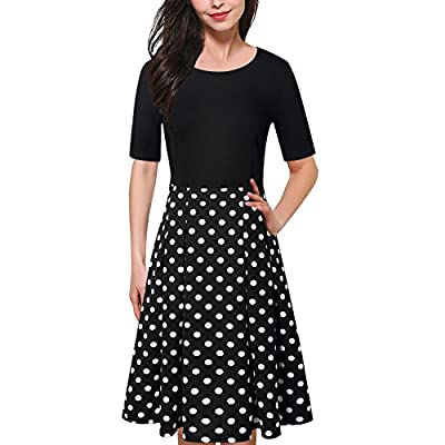 Caracilia Women's Vintage Patchwork Pockets Puffy Swing Casual Party Dress Work