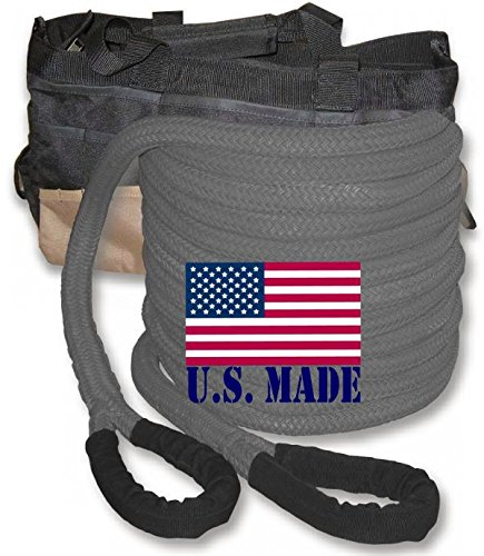 "U.S. made ""GUNMETAL GREY"" Safe-T-Line Kinetic Recovery (Snatch) ROPE – 1 inch X 30 ft with Heavy-Duty Carry Bag (4X4 VEHICLE RECOVERY)"