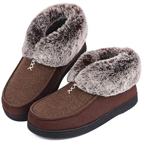 Womens Cozy Memory Foam Slippers Fluffy Wool Like Faux Fur Fleece Lined House Shoes with Non Skid Indoor Outdoor Sole (9 B(M) US, Classic Tan)
