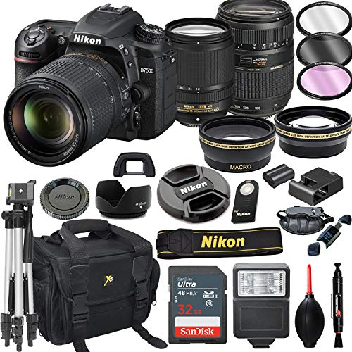 Nikon D7500 DSLR Camera with 18-140mm VR + Tamron 70-300mm + 32GB Card, Tripod, Flash, and More (21pc Bundle)