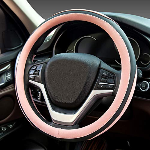 2020 Ford Mustang Wheels - Didida Steering Wheel Covers Soft Matte Microfiber Leather Non-Slip Sweat-Absorbent for Women Men Universal 15 Inch Car Decoration (Pink)