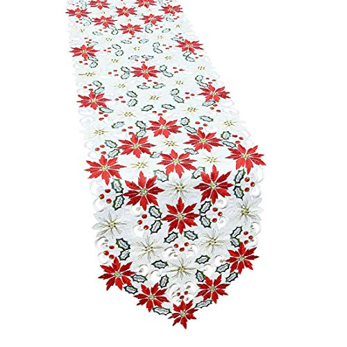 - Simhomsen Christmas Poinsettia Table Runner for Holiday Decorations, Embroidered Holly Leaves, Thick Fabric, 15 × 70 inch
